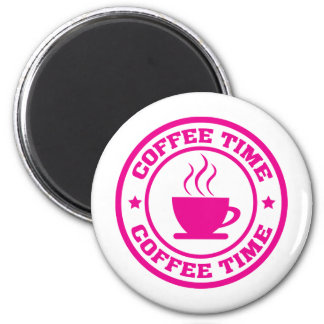 A251 coffee time circle hot pink 2 inch round magnet