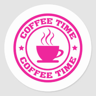 A251 coffee time circle hot pink classic round sticker