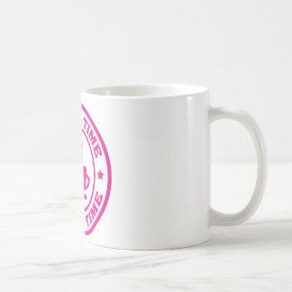 A251 coffee time circle hot pink classic white coffee mug