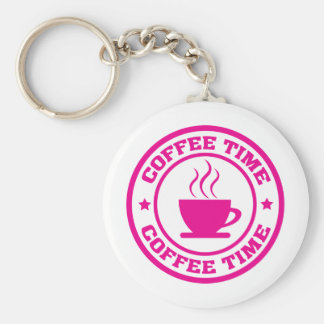 A251 coffee time circle hot pink keychain