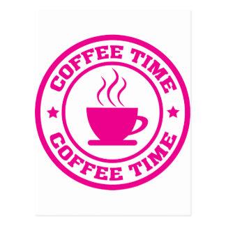 A251 coffee time circle hot pink postcard