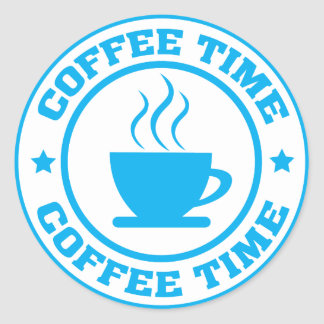 A251 coffee time circle light blue classic round sticker