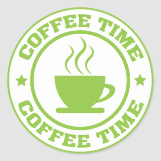 A251 coffee time circle lime green classic round sticker