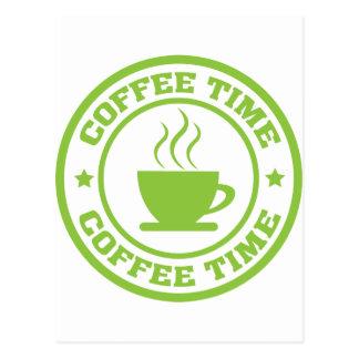 A251 coffee time circle lime green postcard