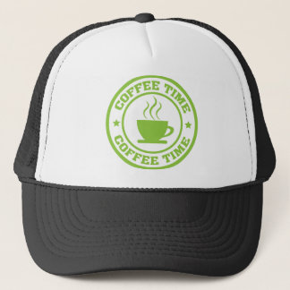 A251 coffee time circle lime green trucker hat