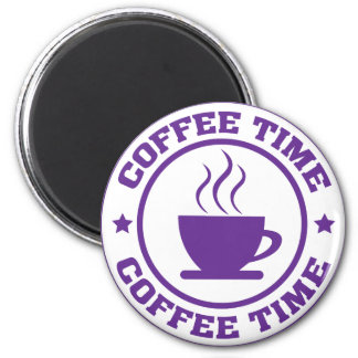 A251 coffee time circle purple 2 inch round magnet