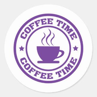 A251 coffee time circle purple classic round sticker