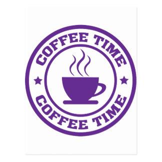 A251 coffee time circle purple postcard