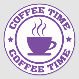 A251 coffee time circle purple stickers