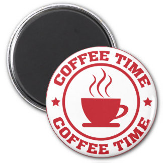 A251 coffee time circle red 2 inch round magnet