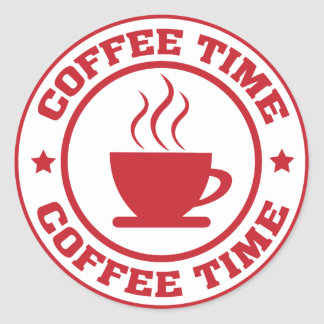 A251 coffee time circle red classic round sticker