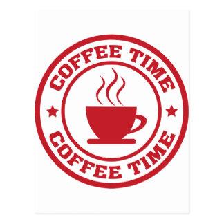 A251 coffee time circle red postcard