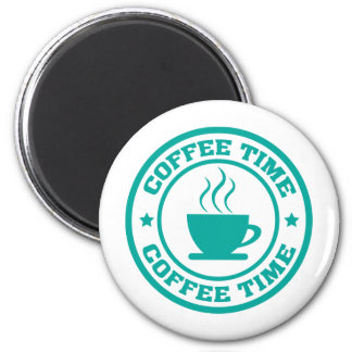 A251 coffee time circle teal 2 inch round magnet