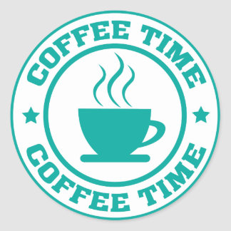 A251 coffee time circle teal classic round sticker