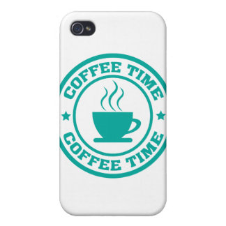 A251 coffee time circle teal iPhone 4 cases