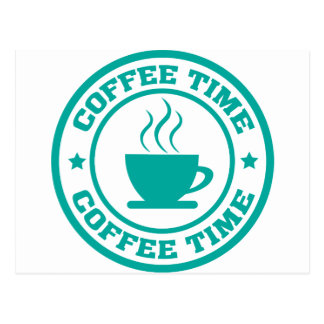 A251 coffee time circle teal postcard
