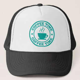 A251 coffee time circle teal trucker hat