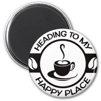 A257 happy place coffee black 2 inch round magnet