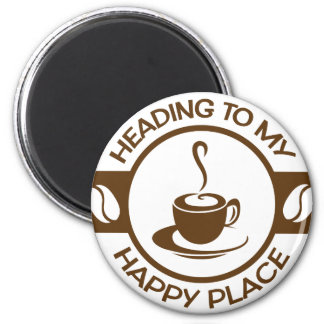 A257 happy place coffee brown 2 inch round magnet