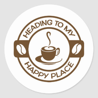A257 happy place coffee brown sticker