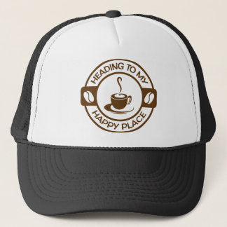A257 happy place coffee brown trucker hat