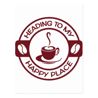A257 happy place coffee burgundy postcard