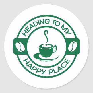 A257 happy place coffee dark green classic round sticker