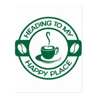 A257 happy place coffee dark green postcard