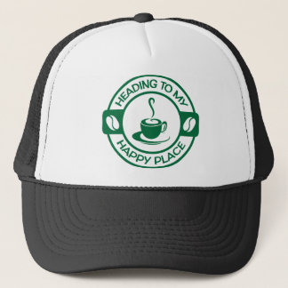 A257 happy place coffee dark green trucker hat