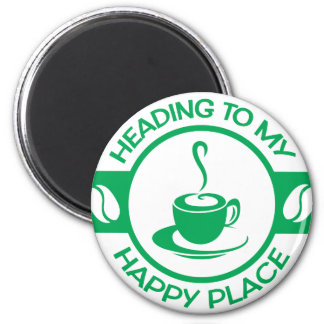 A257 happy place coffee green 2 inch round magnet
