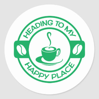 A257 happy place coffee green classic round sticker