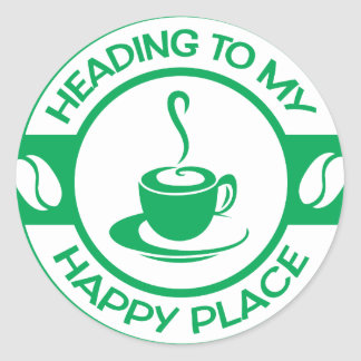 A257 happy place coffee green round sticker