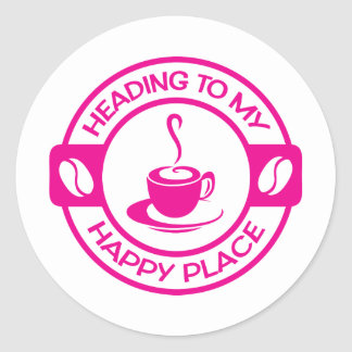 A257 happy place coffee hot pink classic round sticker