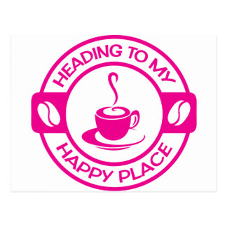 A257 happy place coffee hot pink postcard