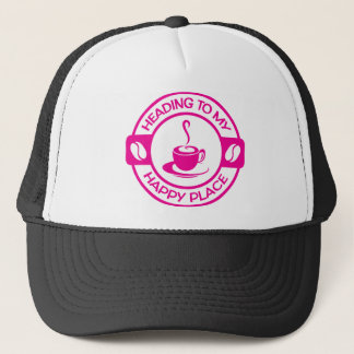 A257 happy place coffee hot pink trucker hat