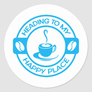 A257 happy place coffee light blue classic round sticker