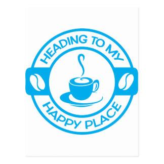 A257 happy place coffee light blue postcard