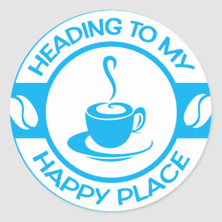 A257 happy place coffee light blue round stickers
