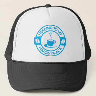 A257 happy place coffee light blue trucker hat