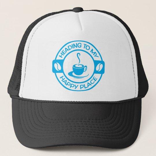 A257 happy place coffee light blue trucker hat