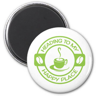 A257 happy place coffee lime green 2 inch round magnet