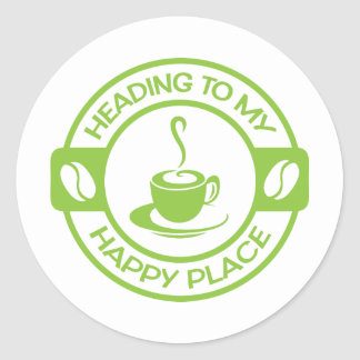 A257 happy place coffee lime green classic round sticker