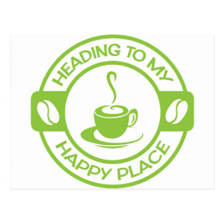 A257 happy place coffee lime green postcard