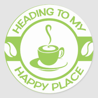 A257 happy place coffee lime green sticker