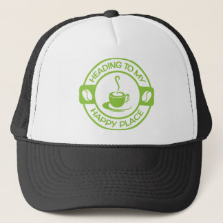 A257 happy place coffee lime green trucker hat