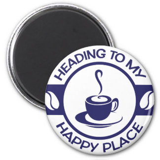 A257 happy place coffee navy blue 2 inch round magnet