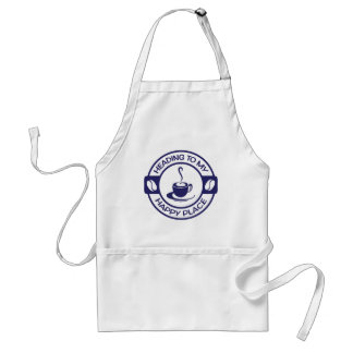 A257 happy place coffee navy blue adult apron