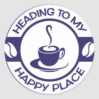 A257 happy place coffee navy blue classic round sticker