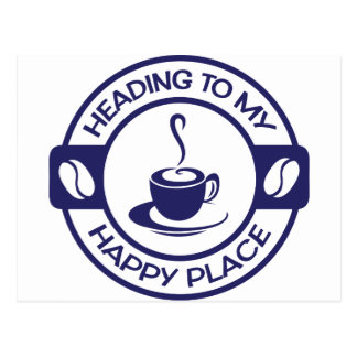 A257 happy place coffee navy blue postcard
