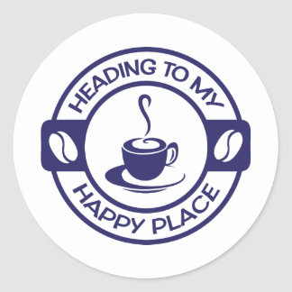 A257 happy place coffee navy blue round stickers